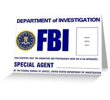 FBI - ID Greeting cards Greeting Card