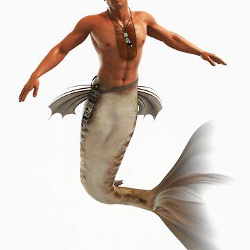 Native Merman Bursting from Water by InfinityRain