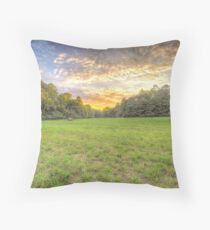 Hay Field at Sunset Throw Pillow