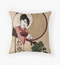 Jap Girl Throw Pillow