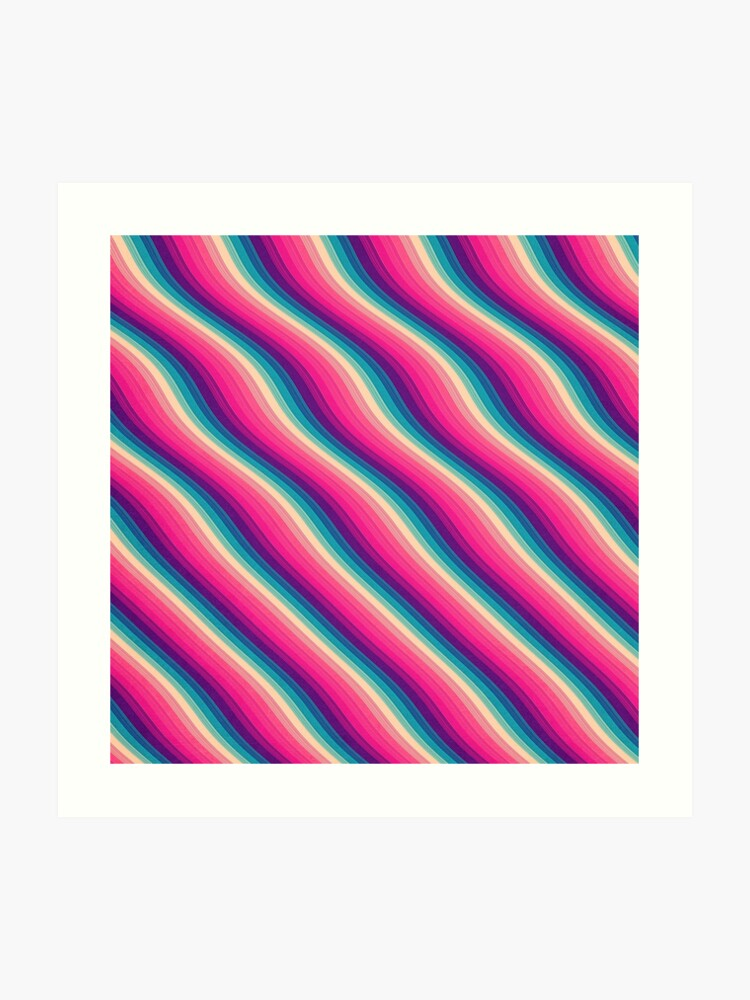 Abstract Color Burn Pattern - Geometric Lines / Optical Illusion in Rainbow  Acid Colors | Art Print