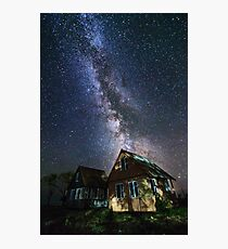 The Milky Way that rises among the houses Photographic Print