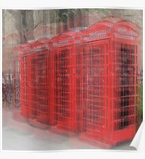 Red Phone Boxes, Cambridge Poster