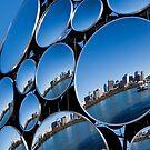 Golden Casket Light Sphere, Brisbane CBD reflection. by Jaxybelle