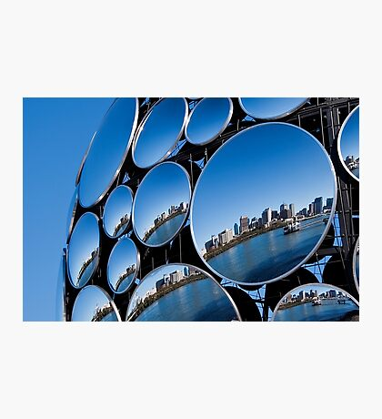 Golden Casket Light Sphere, Brisbane CBD reflection. Photographic Print