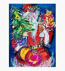 SANTA WITH CHRISTMAS TREE AND GIFTS Photographic Print