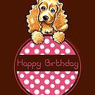 Cocker Spaniel Polka Hangtag Happy Birthday by offleashart