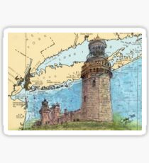 Navesink Twin Lighthouses NJ Nautical Chart Peek Sticker