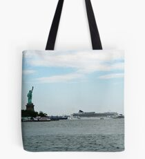 Norweigan Cruise Liner in the Hudson Passes Lady Liberty Tote Bag