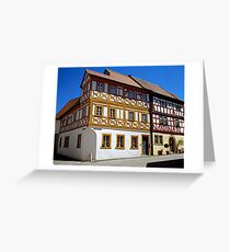 Half timbered houses in Iphofen, Franconia, Bavaria, Germany. Greeting Card