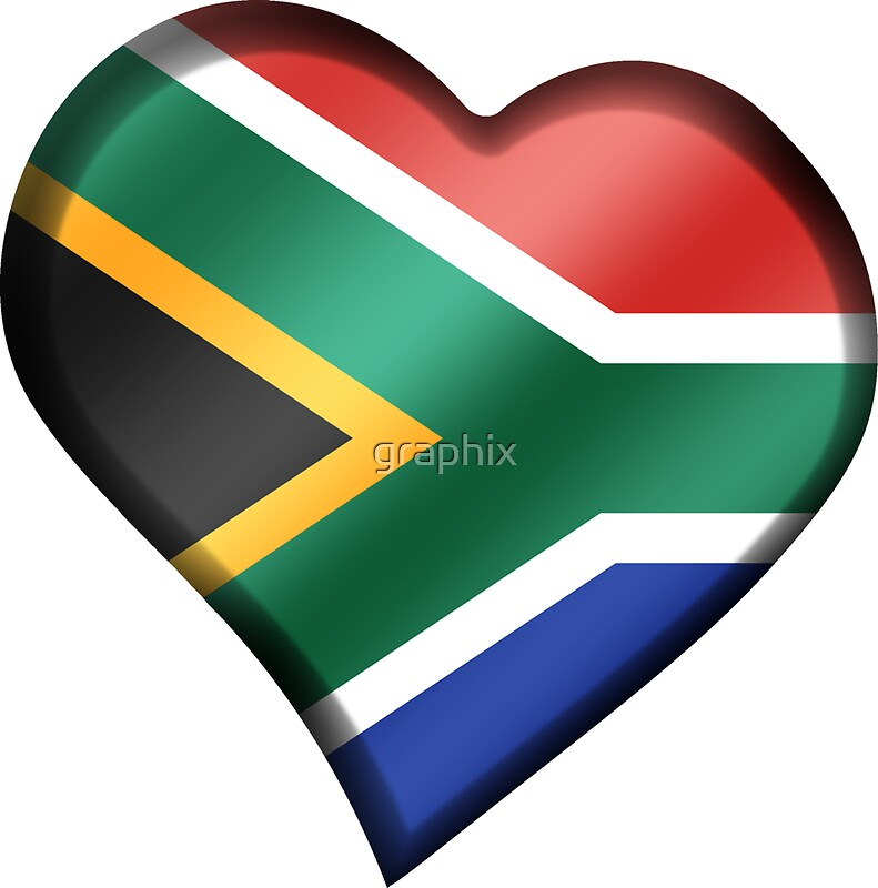 South african flag south africa heart by graphix