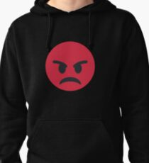Red Angry Face Emoji Pullover Hoodie