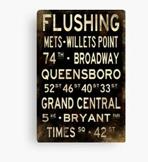 "New York ""Flushing"" V1 Distressed subway sign art Canvas Print"