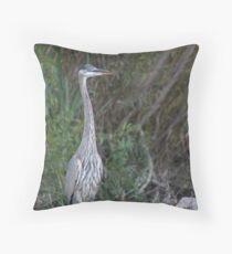 Great Blue Heron on the Milwaukee River Throw Pillow