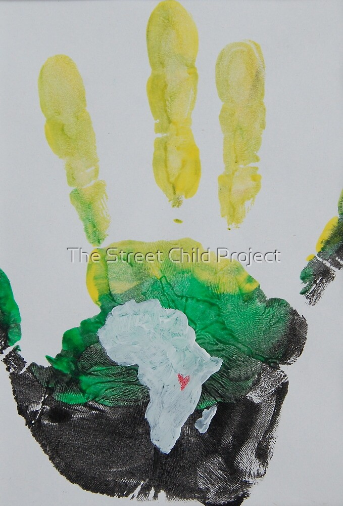 Yellow, Green, and Black Handprint by The Street Child Project