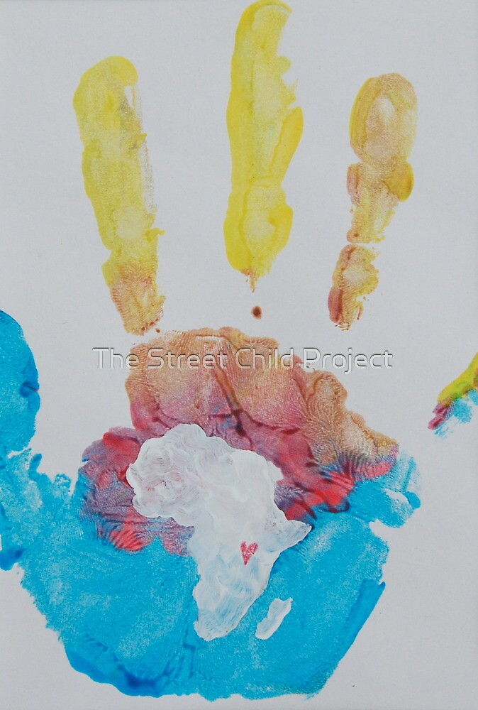 Yellow, Red, and Blue Handprint by The Street Child Project