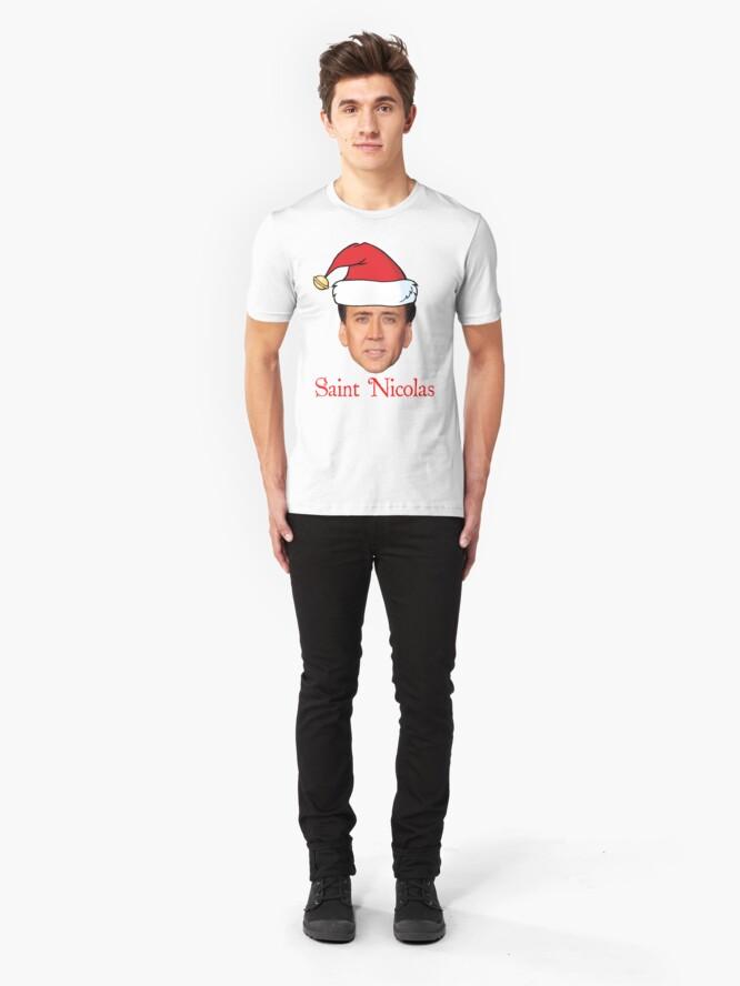Alternate view of Saint Nicolas Cage Christmas  Slim Fit T-Shirt
