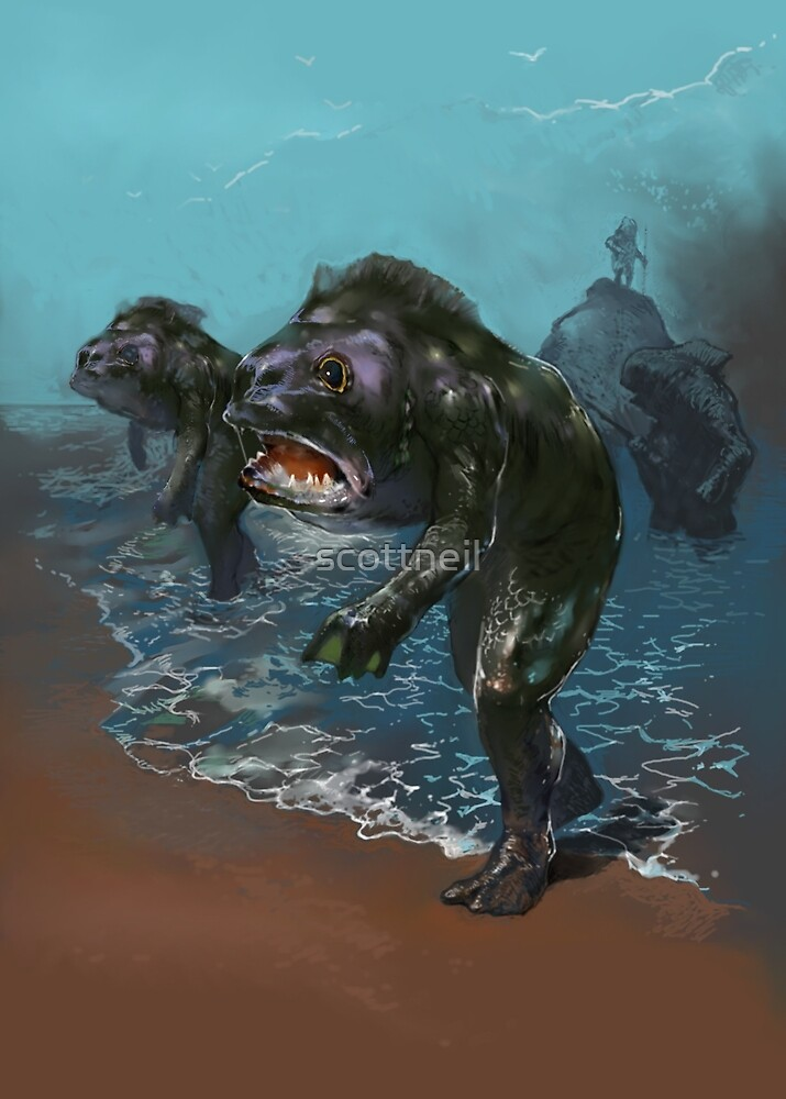Deep ones from Innsmouth HP Lovecraft Horror best selling, top selling redbubble artist by scottneil