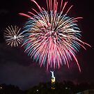 Blue & Red Fireworks by cadman101