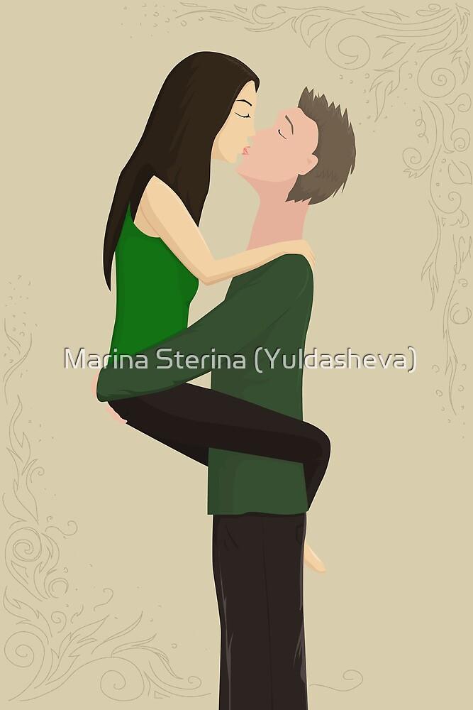 couple ardently kisses by Marishkayu