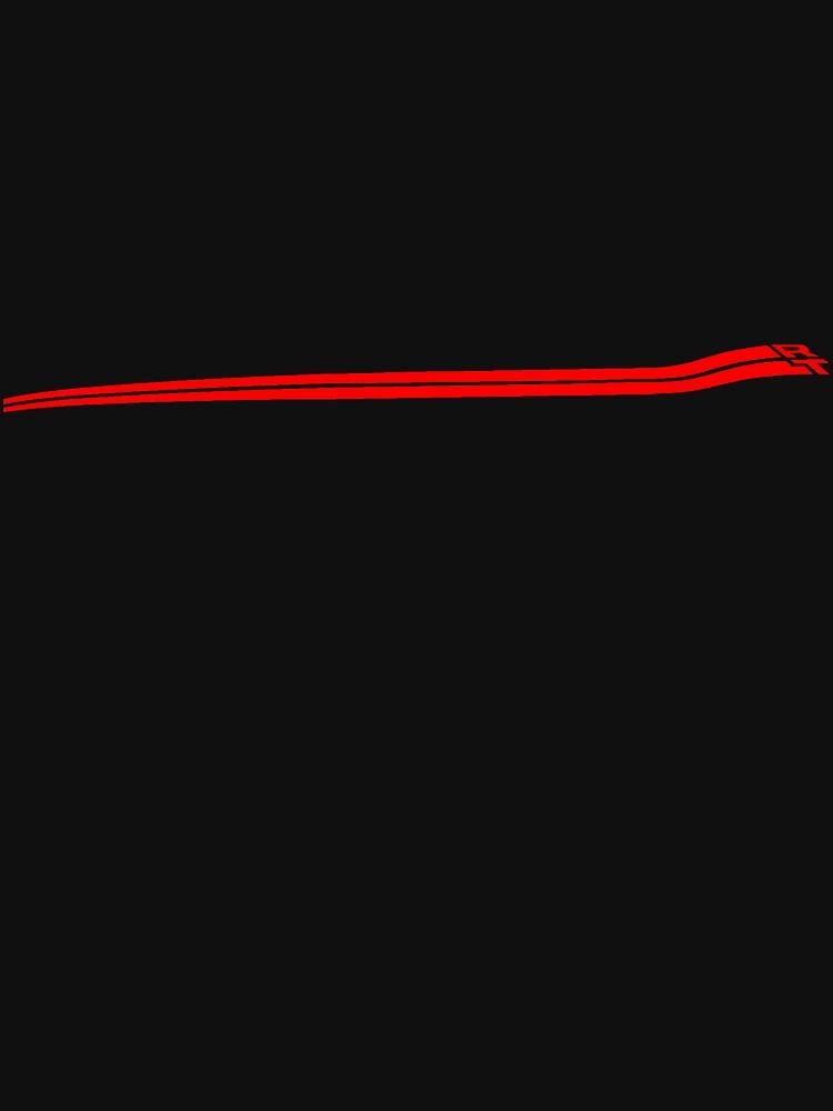 Dodge Chalenger R/T Side Fender Stripe Teeshirt - Red by kalitarios