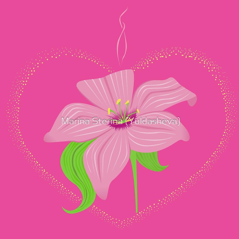 luminous heart with lily by Marishkayu