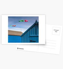 Windsocks and Beach huts Postcards