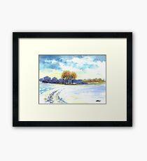 WINTER LANDSCAPE - AQUAREL Framed Print