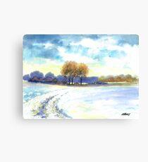 WINTER LANDSCAPE - AQUAREL Canvas Print