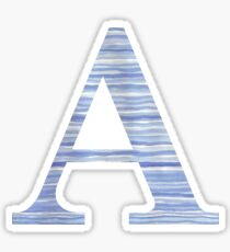 Letter A Blue Watercolor Stripes Monogram Initial Sticker