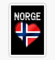 Norge - Norwegian Flag Heart & Text - Metallic Sticker