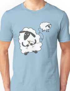 Funny sheep knitting stealing wool yarn Unisex T-Shirt
