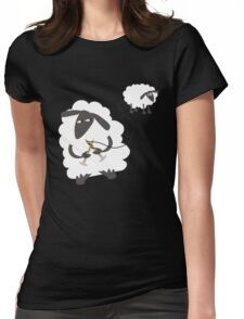 Funny sheep knitting stealing wool yarn Womens Fitted T-Shirt