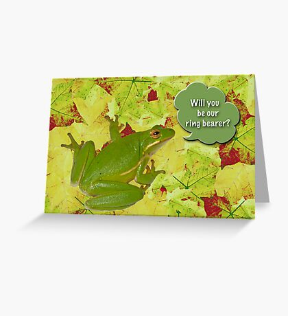 Ring Bearer Request - Green Tree Frog Greeting Card