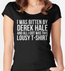 I was bitten by Derek Hale... - black text Women's Fitted Scoop T-Shirt