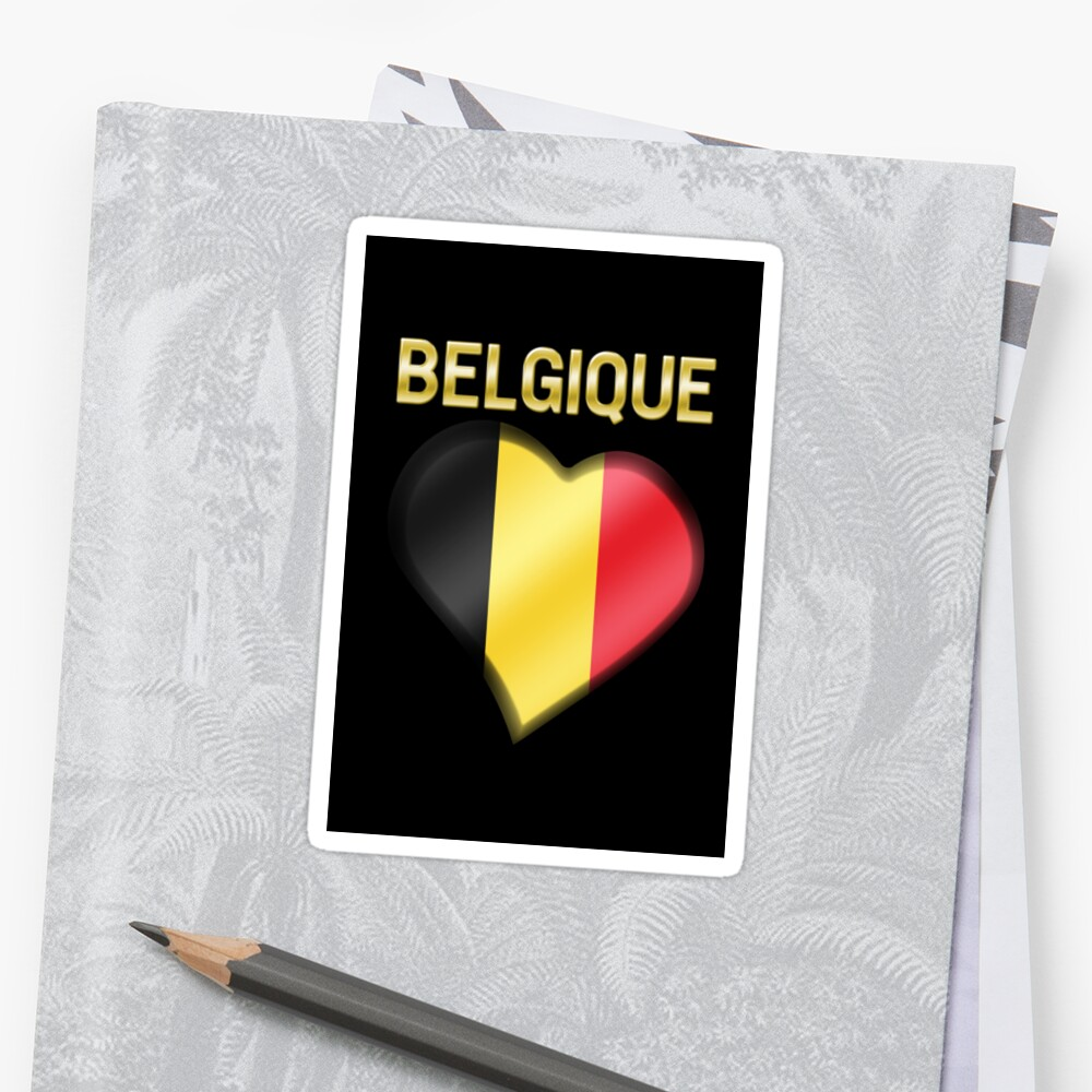 Belgique - Belgian Flag Heart & Text - Metallic by graphix