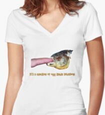 It's a chicken or egg kinda situation Women's Fitted V-Neck T-Shirt