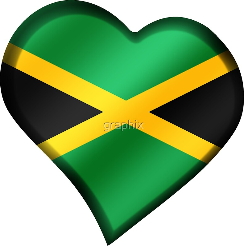 Jamaican flag jamaica heart by graphix
