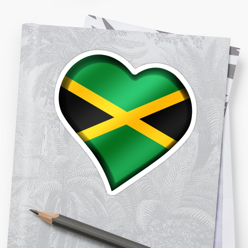 Jamaica Heart Flag Stickers