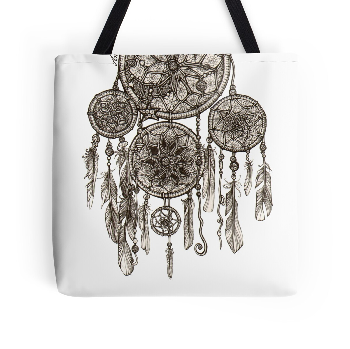Tote bag drawing - Dreamcatcher By Anna Oparina