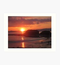 Donegal Sunset, Dogs out Walking, July 2012 Art Print