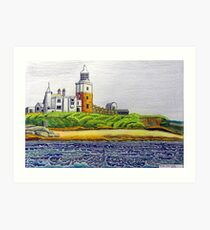 352 - COQUET ISLAND - DAVE EDWARDS - COLOURED PENCILS & INK - 2012 Art Print