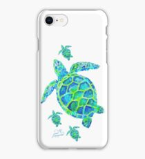 Sea Turtle with babies iPhone Case/Skin