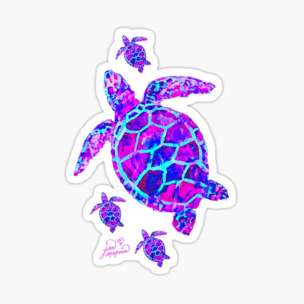 Sea Turtle with babies pink and blue Sticker