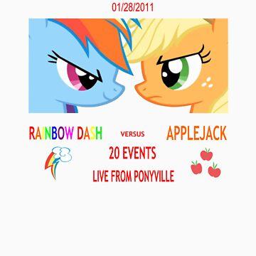 Rainbow Dash vs Applejack by Shadowbolt