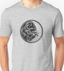 Black Bull Silhouette In Tattoo Style On Silver T-Shirt