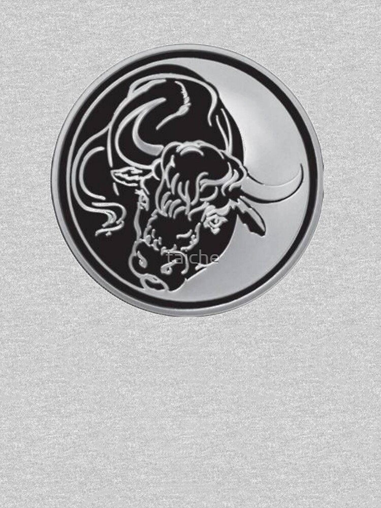 Black Bull Silhouette In Tattoo Style On Silver by taiche