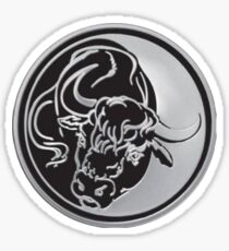 Black Bull Silhouette In Tattoo Style On Silver Sticker