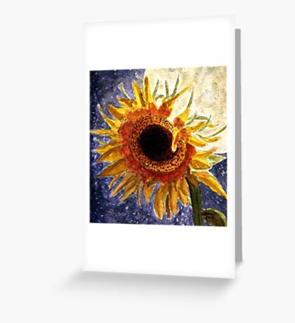 A Sunflower In The Moonlight Greeting Card