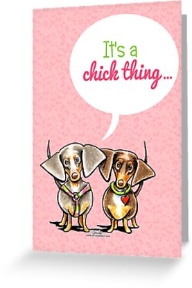 Girly Dachshunds It's a Chick Thing Invitation by offleashart
